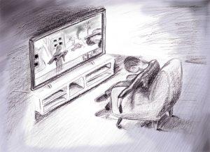 Erschöpfter Mensch im Fernsehsessel