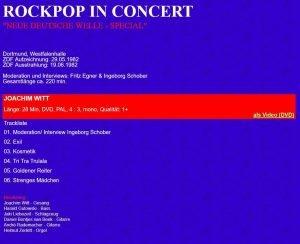 Joachim Witt: Rockpop in Concert 1982